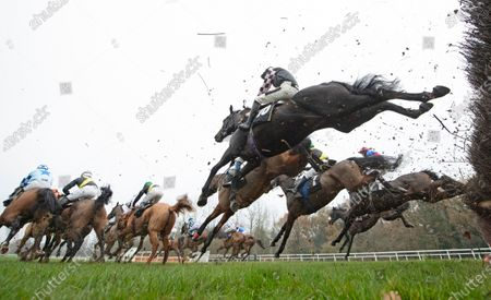 Stock Photo of The winner Cap Du Nord (Jack Tudor,nearest) jumps the 1st fence in the Sir Peter O'Sullevan Memorial Handicap ChaseNewbury 28.11.20 Pic: Edward Whitaker, supplied by Hugh Routledge.