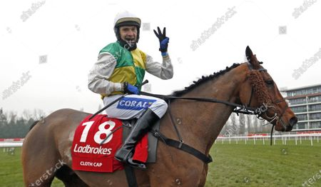 CLOTH CAP (Tom Scudamore) after winning The Ladbrokes Trophy ChaseNewbury 28 Nov 2020 - Pic Steven Cargill, supplied by Hugh Routledge.