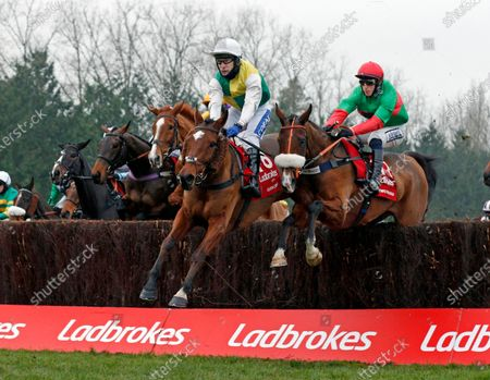 Stock Photo of CLOTH CAP (centre, Tom Scudamore) with TWO FOR GOLD (right) at the first fence in The Ladbrokes Trophy ChaseNewbury 28 Nov 2020 - Pic Steven Cargill, supplied by Hugh Routledge.