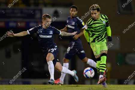 Jason Demetriou of Southend and Odin Bailey of Forest Green Rovers in action during Sky Bet League Two match between Southend and Forest Green Rovers at Roots Hall in Southend, UK - 24th November 2020