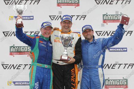 Ginetta GT4 Supercup, Silverstone, 17th-18th September 2016, Podium, Chris Ingram (GBR) Douglas Motorsport Ginetta G55, Colin White (GBR) CWS 4x4 Spares Ginetta G55, David Brooks (GBR) World Copyright. Ebrey/LAT Photographic