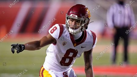 Southern California cornerback Chris Steele (8) looks on in the second half during an NCAA college football game against Utah, in Salt Lake City