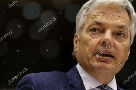 European Commissioner for Justice Didier Reynders speaks during a plenary session of the European Parliament in Brussels, Belgium, 23 November 2020.