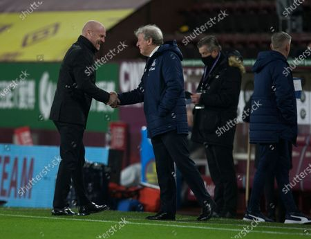 Burnley manager Sean Dyche (L) and Crystal Palace manager Roy Hodgson before the match