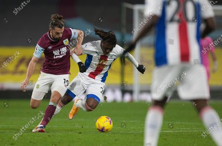 Stock Image of Jay Rodriguez of Burnley (L) and Eberechi Eze of Crystal Palace in action