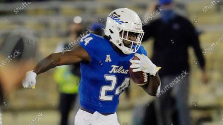 Tulsa running back Corey Taylor II (24) carries during an NCAA college football game against Tulane in Tulsa, Okla