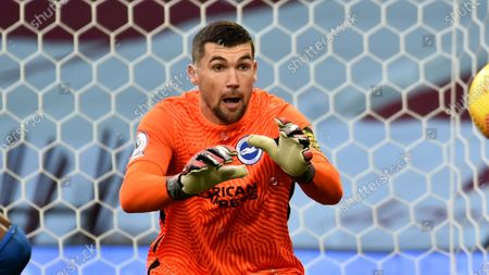 Brighton's goalkeeper Mathew Ryan during the English Premier League soccer match between Aston Villa and Brighton and Hove Albion at the Villa Park stadium in Birmingham, England