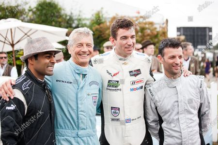 2016 Goodwood Revival Meeting. Goodwood Estate, West Sussex, England.  Friday 9 September 2016 Karun Chandhok, Tony Jardine, Oliver Gavin and Darren Turner relaxing before the St Mary's Trophy practice.  World Copyright: Will Elliott / LAT Photographic.  Reference: _DG29908