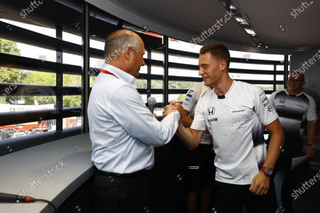 Autodromo Nazionale di Monza, Italy. Saturday 03 September 2016. Ron Dennis, Executive Chairman, McLaren Automotive, and Stoffel Vandoorne, Test and Reserve Driver, McLaren, at the McLaren press conference announcing that Jenson Button, McLaren, will take a break from racing in 2017 but will remain with the team in an ambassadorial role, and that Vandoorne will race in 2017 for the team. World Copyright: Steven Tee/LAT Photographic