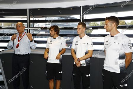 Autodromo Nazionale di Monza, Italy. Saturday 03 September 2016. Ron Dennis, Executive Chairman, McLaren Automotive, Fernando Alonso, McLaren, Stoffel Vandoorne, Test and Reserve Driver, McLaren, and Jenson Button, McLaren, at the McLaren press conference announcing that Jenson Button, McLaren, will take a break from racing in 2017 but will remain with the team in an ambassadorial role. The appointment of Stoffel Vandoorne, Test and Reserve Driver, McLaren, to a 2017 race seat was also announced. World Copyright: Steven Tee/LAT Photographic