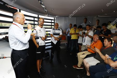 Autodromo Nazionale di Monza, Italy. Saturday 03 September 2016. Ron Dennis, Executive Chairman, McLaren Automotive, and Jenson Button, McLaren, at the McLaren press conference announcing that Jenson Button, McLaren, will take a break from racing in 2017 but will remain with the team in an ambassadorial role. The appointment of Stoffel Vandoorne, Test and Reserve Driver, McLaren, to a 2017 race seat was also announced. World Copyright: Steven Tee/LAT Photographic
