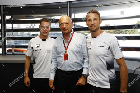 Autodromo Nazionale di Monza, Italy. Saturday 03 September 2016. Ron Dennis, Executive Chairman, McLaren Automotive, Stoffel Vandoorne, Test and Reserve Driver, McLaren, and Jenson Button, McLaren, at the McLaren press conference announcing that Jenson Button, McLaren, will take a break from racing in 2017 but will remain with the team in an ambassadorial role. The appointment of Stoffel Vandoorne, Test and Reserve Driver, McLaren, to a 2017 race seat was also announced. World Copyright: Steven Tee/LAT Photographic