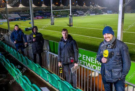 Glasgow Warriors vs Munster. Premier Sports' Dougie Vipond, Sean Holley, Andrew Trimble and Alastair Kellock