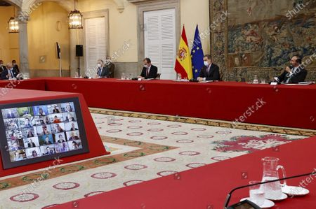 King Felipe VI attends at the meeting of the Scientific Council of the Elcano Royal Institute for International and Strategic Studies at El Pardo Royal Palace