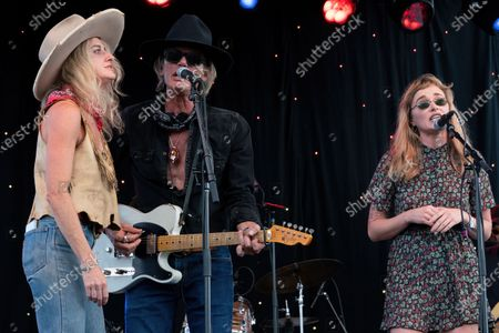 Molly Gayle Leary, Charlie Sexton, and Leah Blevins perform at the Songs I Left Behind, a Tribute to Billy Joe Shaver, a Long Live Music event on the lawn at the Long Center