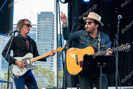 Charlie Sexton and David Ramirez perform at the Songs I Left Behind, a Tribute to Billy Joe Shaver, a Long Live Music event on the lawn at the Long Center
