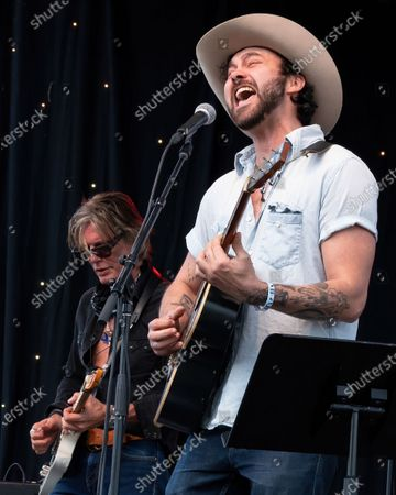 Charlie Sexton and Shakey Graves performs at the Songs I Left Behind, a Tribute to Billy Joe Shaver, a Long Live Music event on the lawn at the Long Center