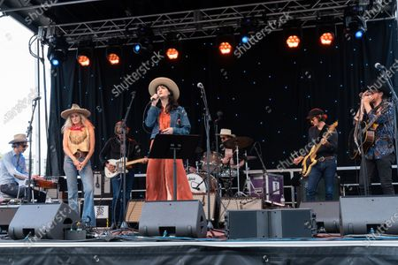 Ricky Ray Jackson, Molly Gayle Leary, Charlie Sexton, Nikki Lane, Josh Blue, John Michael Schoepf, and Jonathan terrell perform at the Songs I Left Behind, a Tribute to Billy Joe Shaver, a Long Live Music event on the lawn at the Long Center