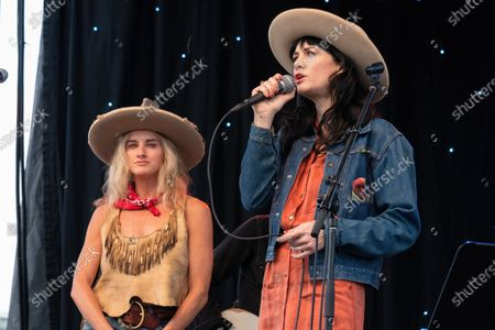 Molly Gayle Leary and Nikki Lane perform at the Songs I Left Behind, a Tribute to Billy Joe Shaver, a Long Live Music event on the lawn at the Long Center