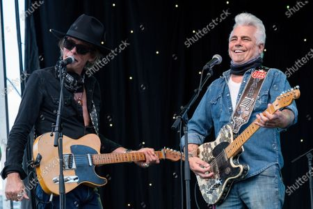 Charlie Sexton and Dale Watson perform at the Songs I Left Behind, a Tribute to Billy Joe Shaver, a Long Live Music event on the lawn at the Long Center