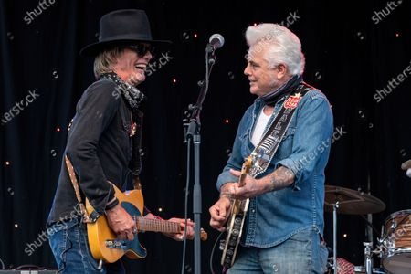 Stock Image of Charlie Sexton and Dale Watson perform at the Songs I Left Behind, a Tribute to Billy Joe Shaver, a Long Live Music event on the lawn at the Long Center