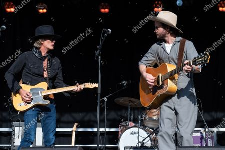 Charlie Sexton and Jonny Burke perform during the Songs I Left Behind, a Tribute to Billy Joe Shaver, a Long Live Music event on the lawn at the Long Center