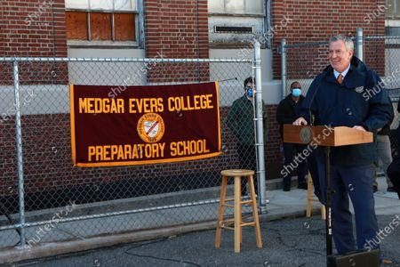 Stock Photo of New York City Mayor Bill De Blasio attends the press conference to announce the groundbreaking on the 681-seat school building for the Medgar Evers College Preparatory School in partnership with the Department of Education (DOE), the School Construction Authority (SCA), and CUNY held at Medgar Evers College Preparatory School