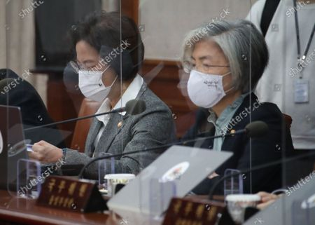 Justice Minister Choo Mi-ae (L) and Foreign Minister Kang Kyung-wha attend a Cabinet meeting, chaired by Prime Minister Chung Sye-kyun, at the government complex in Seoul, South Korea, 24 November 2020.