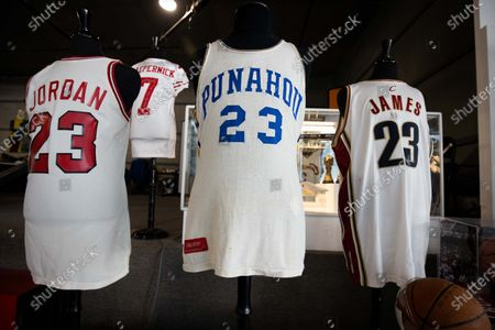 (L-R) Jerseys worn by US athletes Michael Jordan, Colin Kaepernick, US President Barack Obama, and Lebron James are displayed and put for auction at Julien's Auctions in Beverly Hills, California, USA, 23 November 2020. The auction will be held on 01 December 2020.