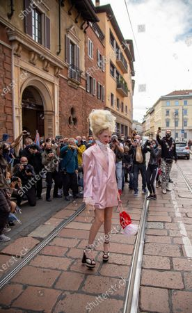 Editorial picture of Philosophy show, Arrivals, Spring Summer 2021, Milan Fashion Week, Italy - 26 Sep 2020