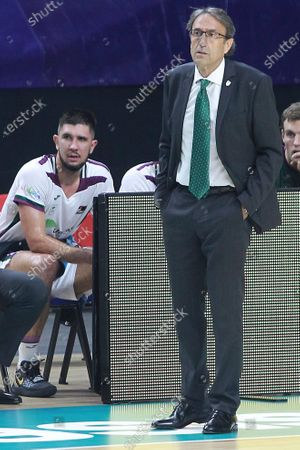 Stock Photo of Estudiantes Movistar against Unicaja basketball match during the Spanish league Endesa at the Wizink Center stadium in Madrid on November 23, 2020.Unicaja's coach Luis Casimiro Palomo