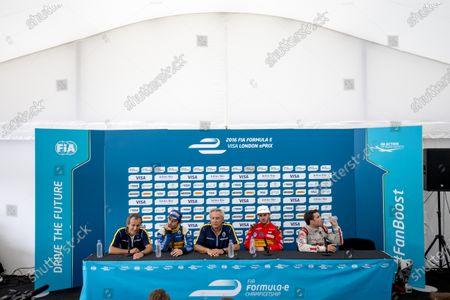 2015/2016 FIA Formula E Championship. London ePrix, Battersea Park, London, United Kingdom. Sunday 3 July 2016. Post race press conference. Alain Prost, Nicolas Prost (FRA), Renault e.Dams Z.E.15, Jean-Paul Driot, Daniel Abt (GER), ABT Audi Sport FE01 and Jerome D'Ambrosio (FRA) Dragon Racing - Venturi VM200-FE-01  Photo: Zak Mauger/LAT/Formula E