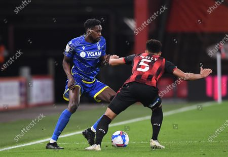 Sammy Ameobi of Nottingham Forest competes for the ball with Lloyd Kelly of Bournemouth; Vitality Stadium, Bournemouth, Dorset, England; English Football League Championship Football, Bournemouth Athletic versus Nottingham Forest.