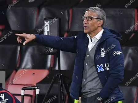 Stock Image of Chris Hughton Manager of Nottingham Forest gestures to his team; Vitality Stadium, Bournemouth, Dorset, England; English Football League Championship Football, Bournemouth Athletic versus Nottingham Forest.