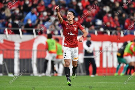 Urawa Reds' Tomoaki Makino celebrates after scoring their 1st goal during the 2020 J.LEAGUE J1 soccer match between Urawa Red Diamonds 1-2 Gamba Osaka at Saitama Stadium 2002 in Saitama, Japan.