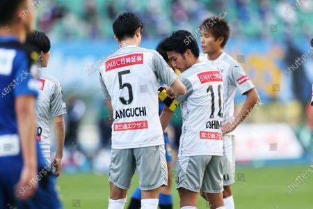 (L-R) Shogo Taniguchi (Frontale), Ryota Oshima (Frontale) - Football / Soccer : 2020 J1 League match between Oita Trinita 1-0 Kawasaki Frontale at Showa Denko Dome Oita, Oita, Japan.