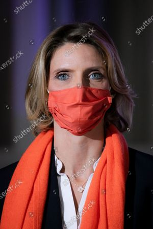 """Stock Image of Sylvie Tellier. Illumination ceremony in the colors of the International Day for the Elimination of Violence against Women. Lighting of the Hotel de Beauvau in the colors of the """"Orange the World"""" campaign."""