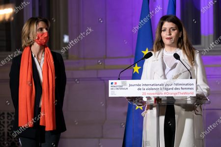 """Sylvie Tellier and Marlene Schiappa. Illumination ceremony in the colors of the International Day for the Elimination of Violence against Women. Lighting of the Hotel de Beauvau in the colors of the """"Orange the World"""" campaign."""