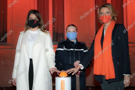 """Stock Photo of Marlene Schiappa and Sylvie Tellier. Illumination ceremony in the colors of the International Day for the Elimination of Violence against Women. Lighting of the Hotel de Beauvau in the colors of the """"Orange the World"""" campaign."""