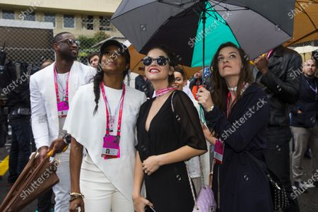 Monte Carlo, Monaco.  Sunday 29 May 2016. Guests at the Monaco Grand Prix, including Dwayne Wade, his wife Gabrielle Union and models Anita and Barbara Palvin. World Copyright: Sam Bloxham/LAT Photographic