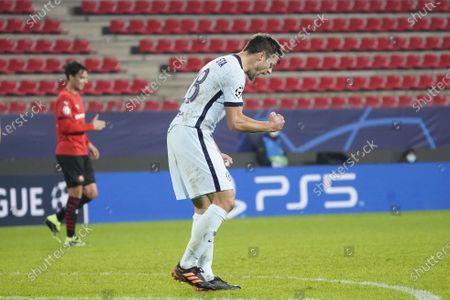 Cesar Azpilicueta of Chelsea celebrates after his team wins