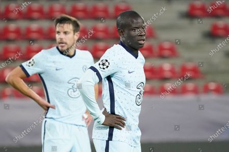 (R-L) N'Golo Kante of Chelsea and Cesar Azpilicueta of Chelsea