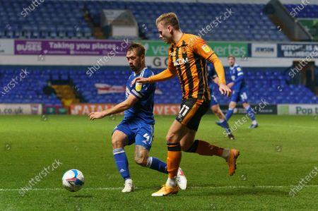 Luke Chambers of Ipswich Town (4) and James Scott of Hull City (11)