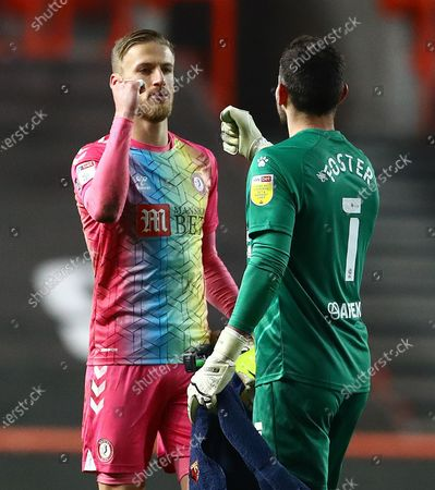 Stock Picture of Bristol City goalkeeper Daniel Bentley and Ben Foster of Watford bump fists at full time
