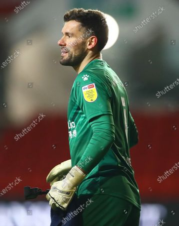 Ben Foster of Watford with his in goal camera/GoPro at full time
