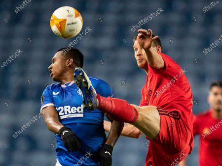 Jan Vertonghen of SL Benfica fouls Alfredo Morelos of Rangers