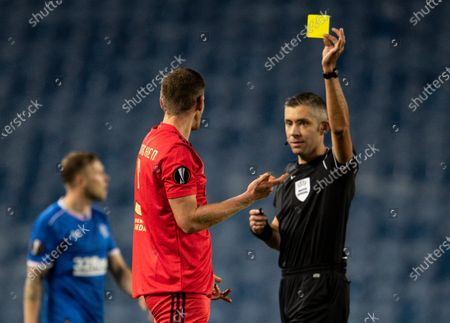 Jan Vertonghen of SL Benfica is shown a yellow card