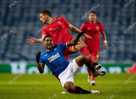 Stock Picture of Jan Vertonghen of SL Benfica fouls Alfredo Morelos of Rangers
