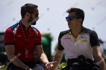 2016 GP2 Series Round 2 Monte Carlo, Monaco. Wednesday 25 May 2016. Julian Rose - General Manager, Arden International, talks with Alex Lynn, (GBR, DAMS) Photo: Sam Bloxham/GP2 Series Media Service.