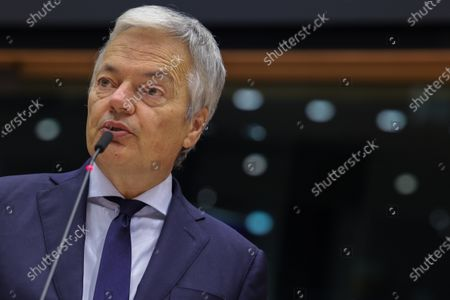 European Commissioner for Justice Didier Reynders speaks during a plenary session at the European Parliament in Brussels, Belgium, 24 November 2020.